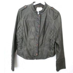 Anthropologie vegan leather moto jacket green hei
